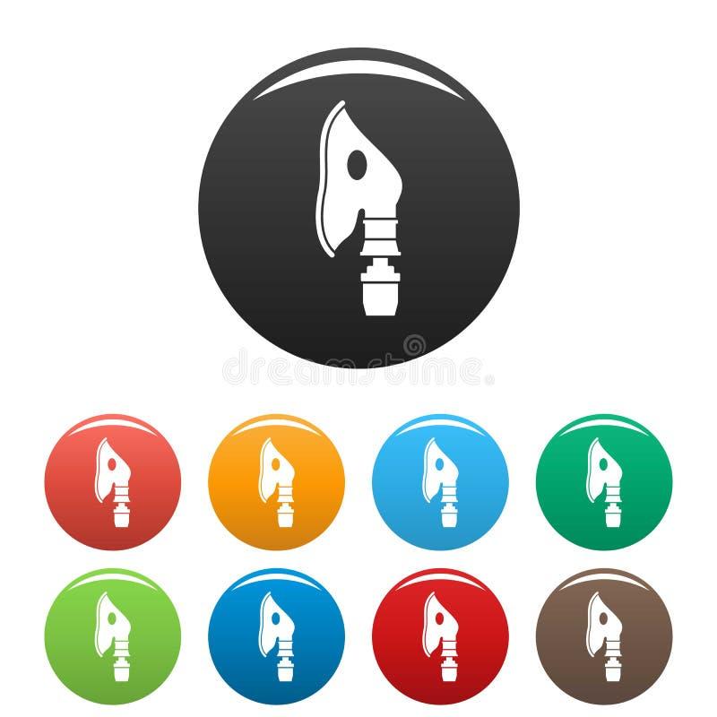 Color respiratorio del sistema de los iconos de la máscara stock de ilustración
