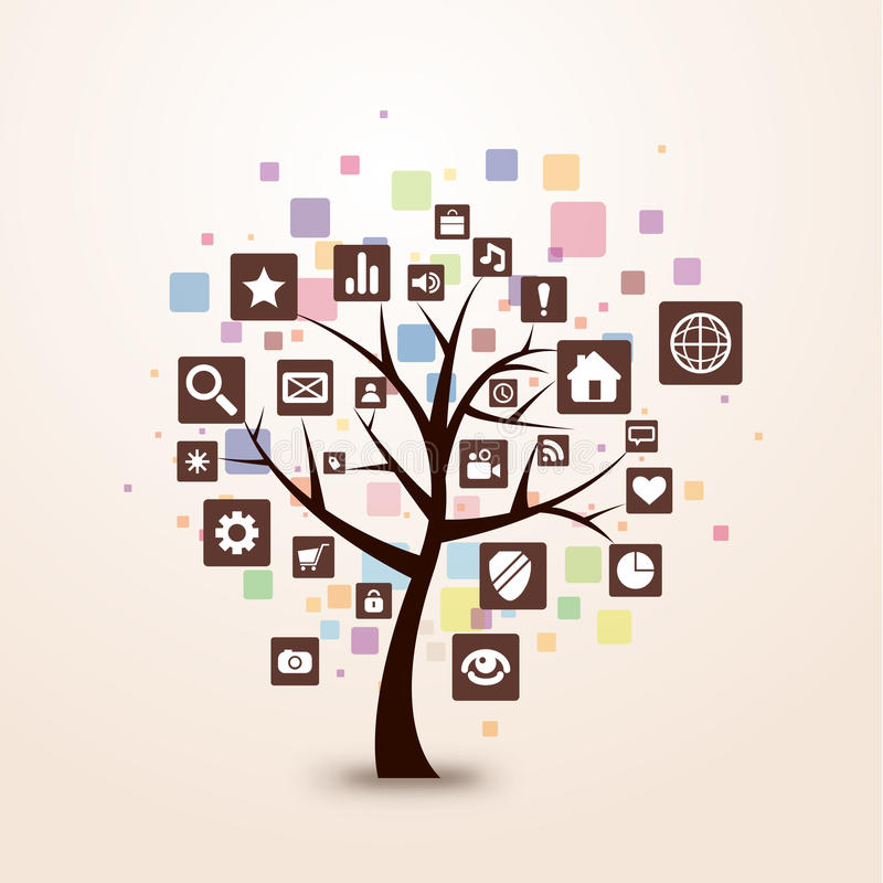 Color retro del concepto del árbol del icono del Web stock de ilustración