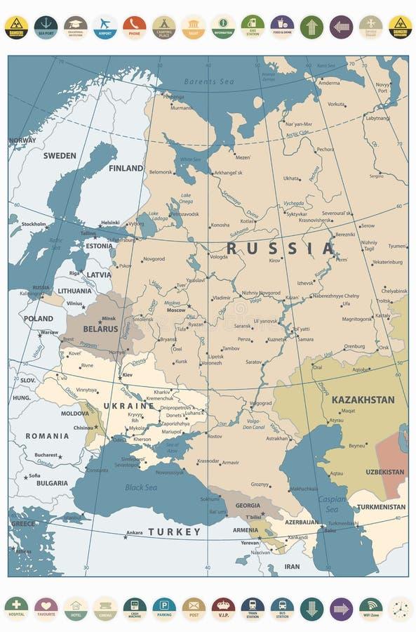 Color retro del mapa de Europa Oriental e iconos planos redondos stock de ilustración