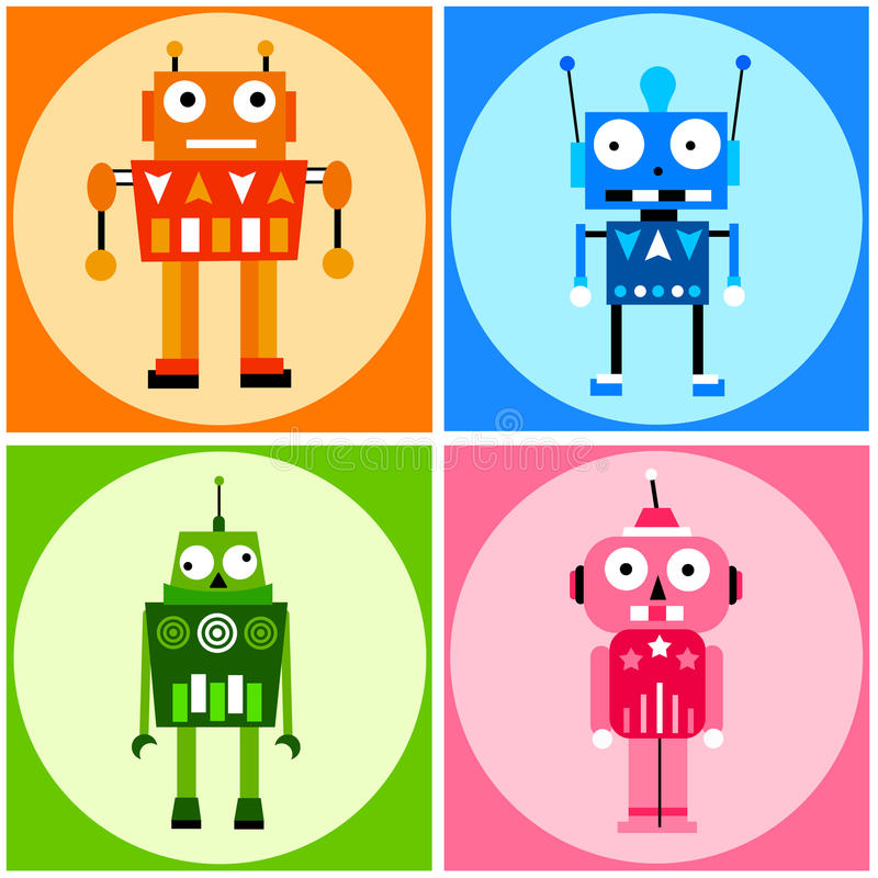 Color robots. Robots in several bright colors vector illustration