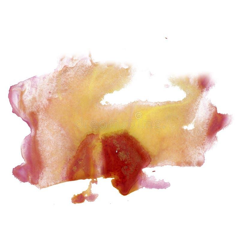 Color rojo amarillo de la textura del movimiento de la pintura de los movimientos de la acuarela con el espacio para su propio ar libre illustration