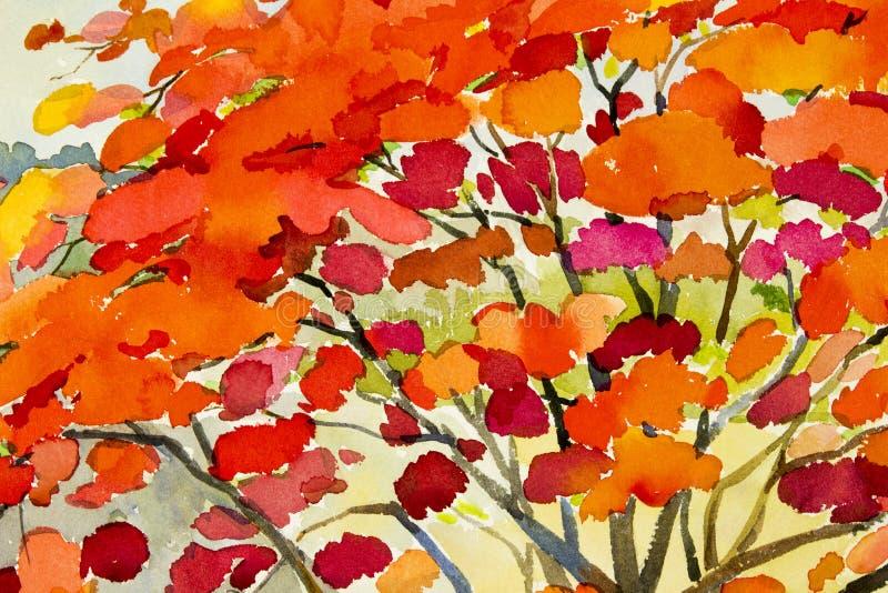 Color rojo de la acuarela de la pintura original abstracta del paisaje de las flores de pavo real stock de ilustración