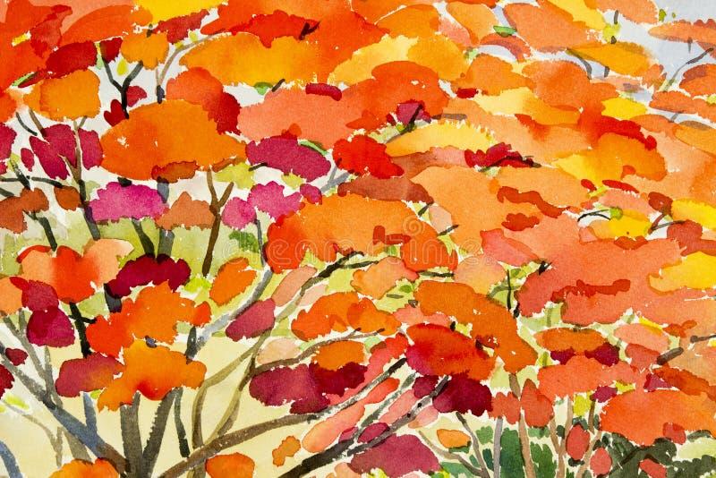 Color rojo de la acuarela de la pintura original abstracta del paisaje de las flores de pavo real ilustración del vector