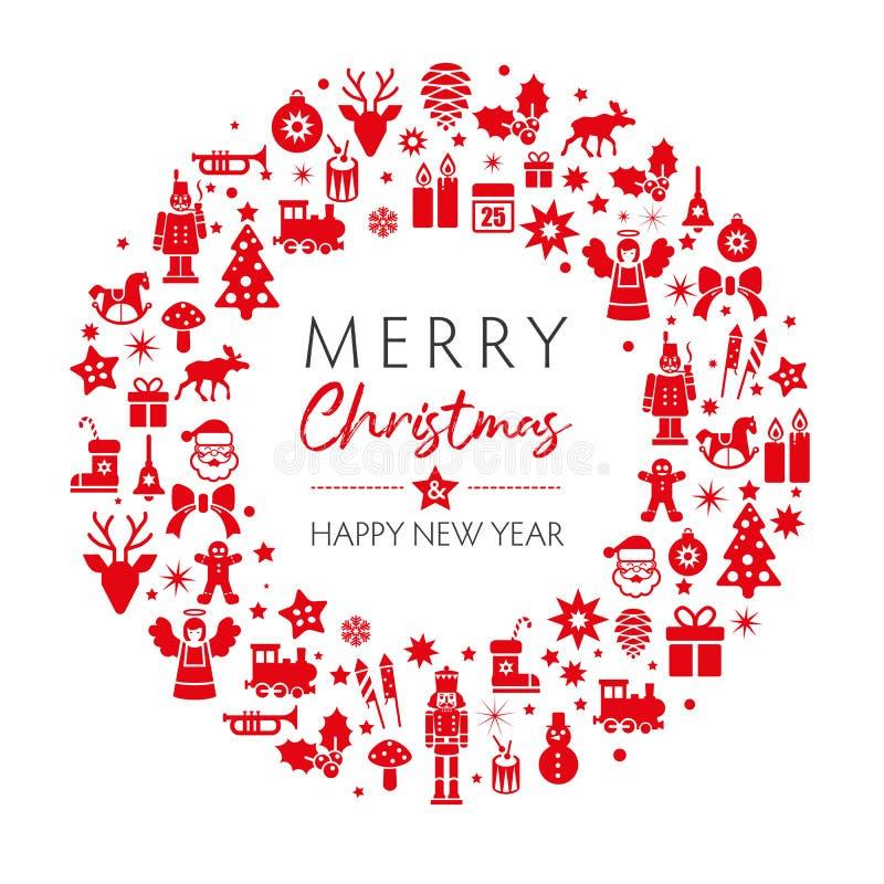 Color rojo de la tarjeta de felicitación de la Navidad y del Año Nuevo ilustración del vector
