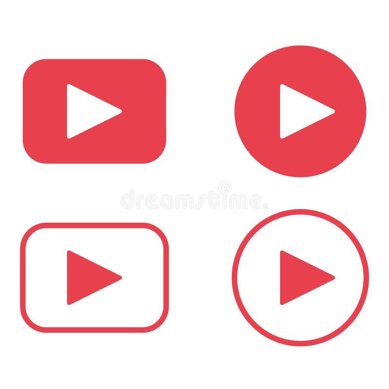 Color rojo del botón de reproducción Vector video eps10 del icono del botón del juego TV ilustración del vector