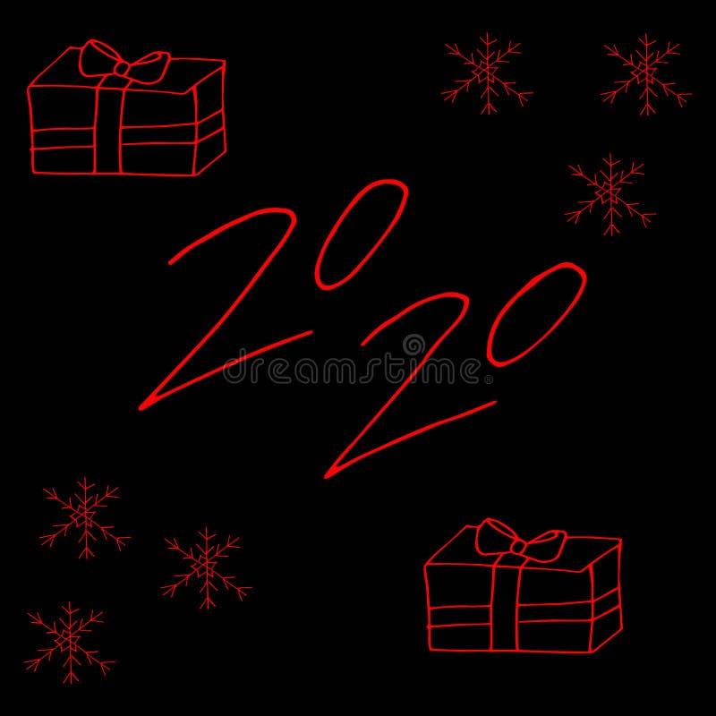 color rojo del diseño de 2020 textos, colección de Feliz Año Nuevo y buenas fiestas libre illustration