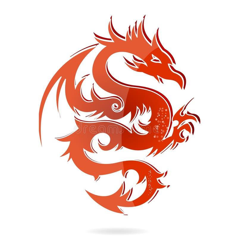 Color rojo del dragón de cristal de Asia aislado ilustración del vector