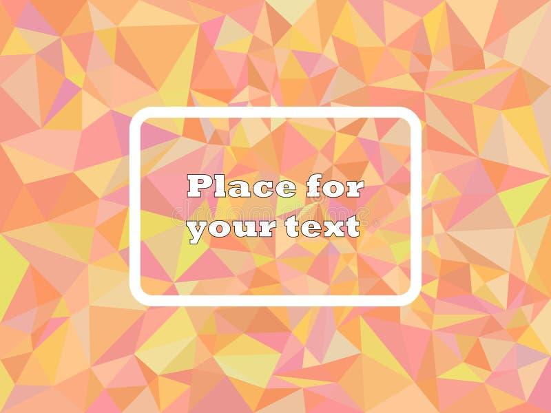 Color rojo geométrico de la textura de mosaico del polígono del extracto con voces bajas Con el marco cuadrado para el texto Ilus stock de ilustración