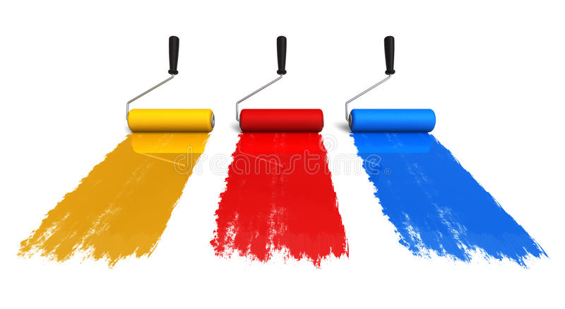 Color roller brushes with trails of paint stock illustration