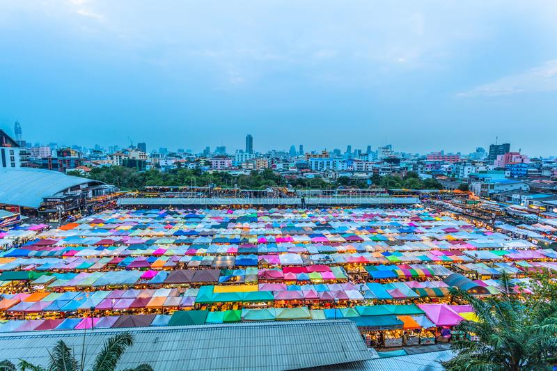Color roof in Train Night Market Ratchada stock photos