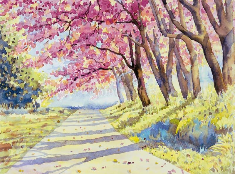 Color rosado del paisaje de la acuarela de la cereza himalayan salvaje stock de ilustración