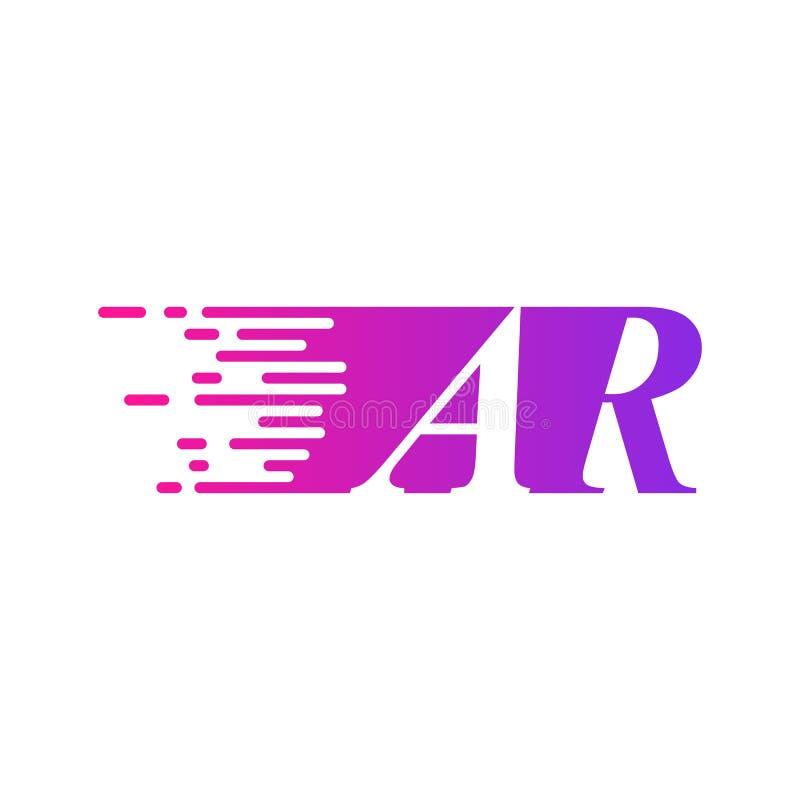 Color rosado púrpura del vector rápido del logotipo de AR de la letra inicial ilustración del vector