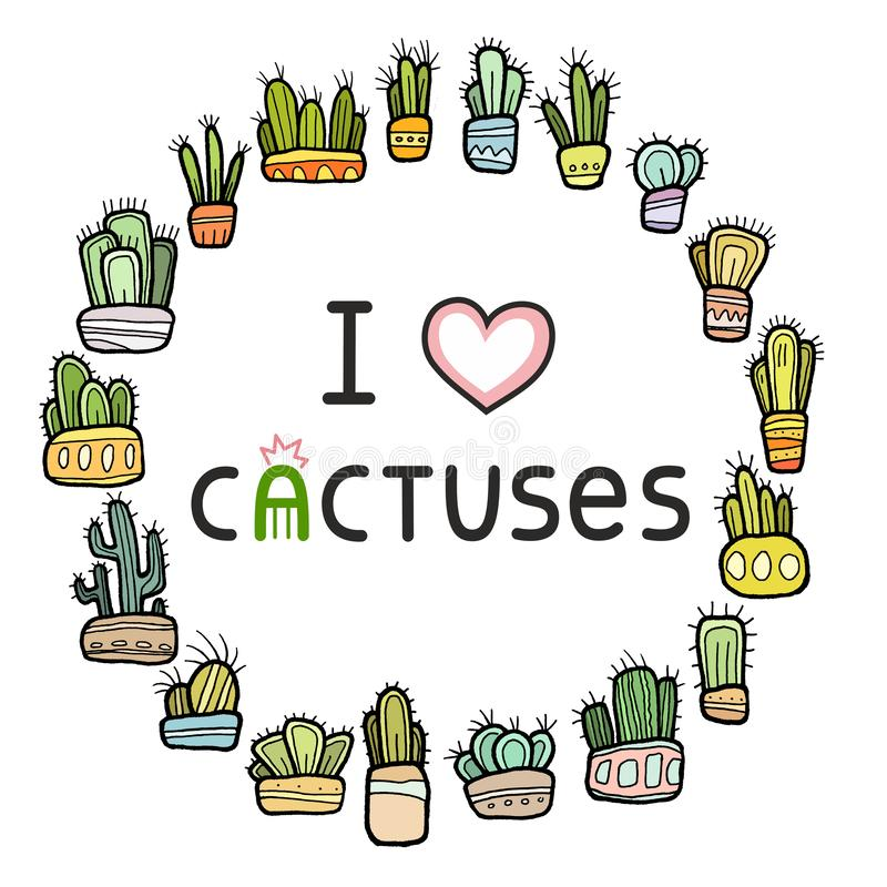 Color round cactus frame. Collection of colorful hand drawn cacti in decorative pots set isolated on white background vector illustration