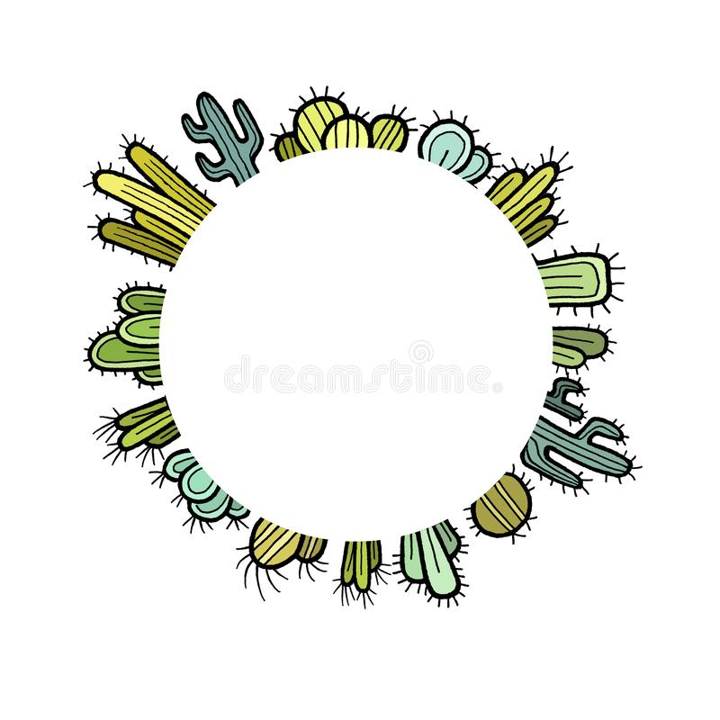 Color round cactus frame. Collection of multicolor flat hand drawn cacti set isolated on white background vector illustration