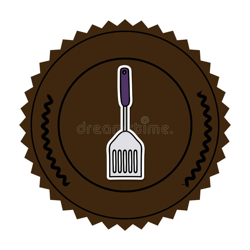 Color round frame with frying spatula. Illustration royalty free illustration