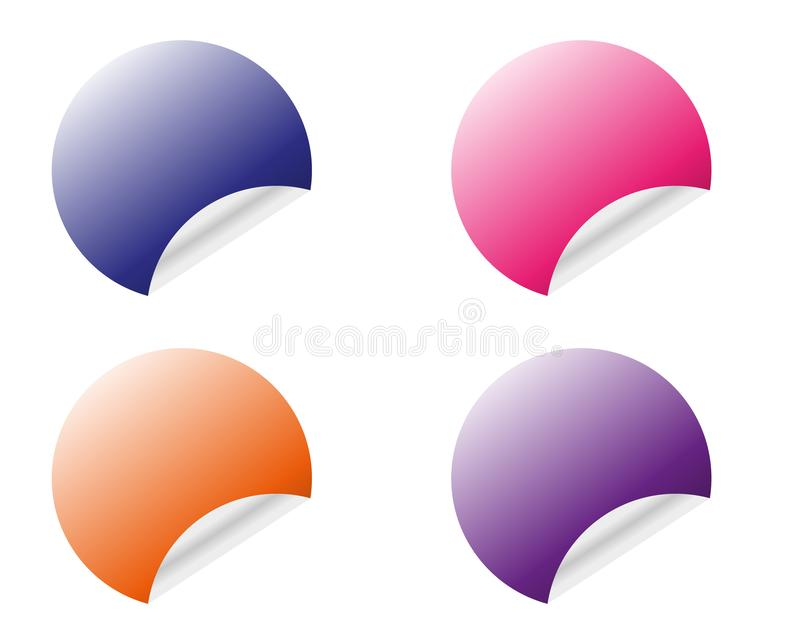 Color round stickers with curled edge vector template isolated on white background vector illustration