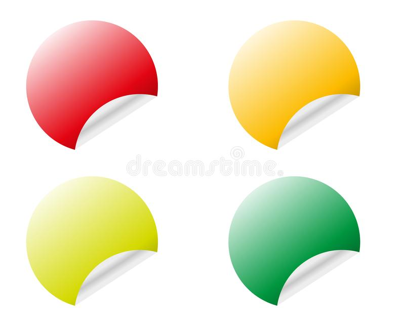 Color round stickers with curled edge vector template isolated on white background royalty free illustration