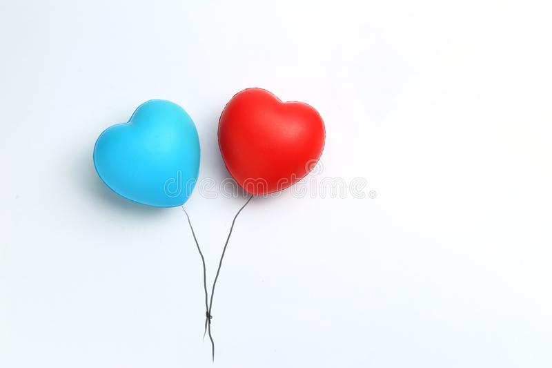 Color rubber hearts balloons creative photography isolated on white background,Valentine`s Day concept royalty free stock photos