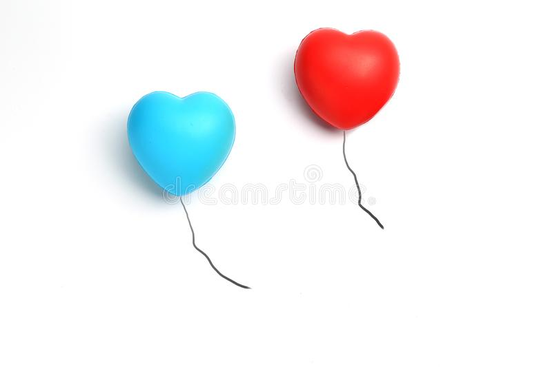Color rubber hearts balloons creative photography isolated on white background,Valentine`s Day concept royalty free stock photography