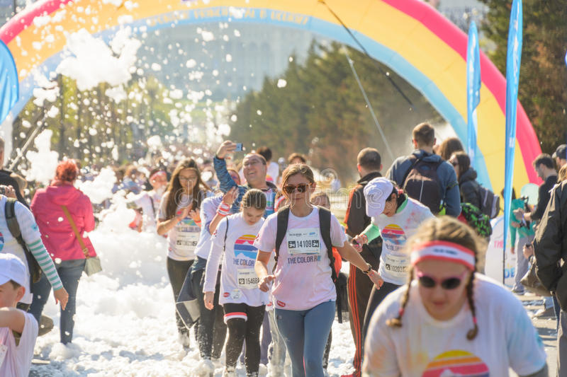 The Color Run. Bucharest, event from 22 Apr 2017 stock photo