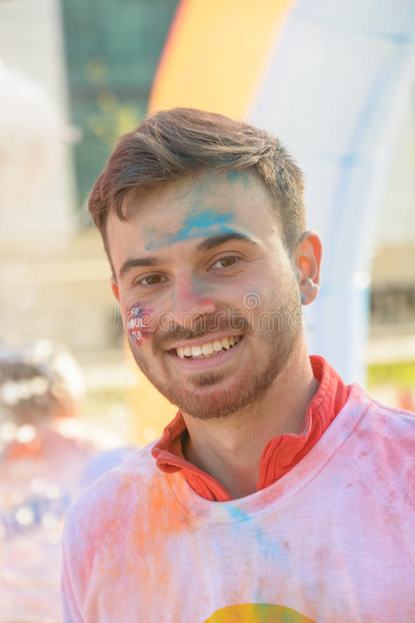 The Color Run. Bucharest, event from 22 Apr 2017 stock image
