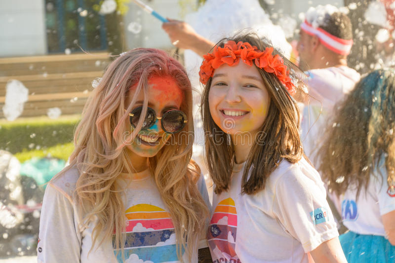 The Color Run. Bucharest, event from 22 Apr 2017 stock photos