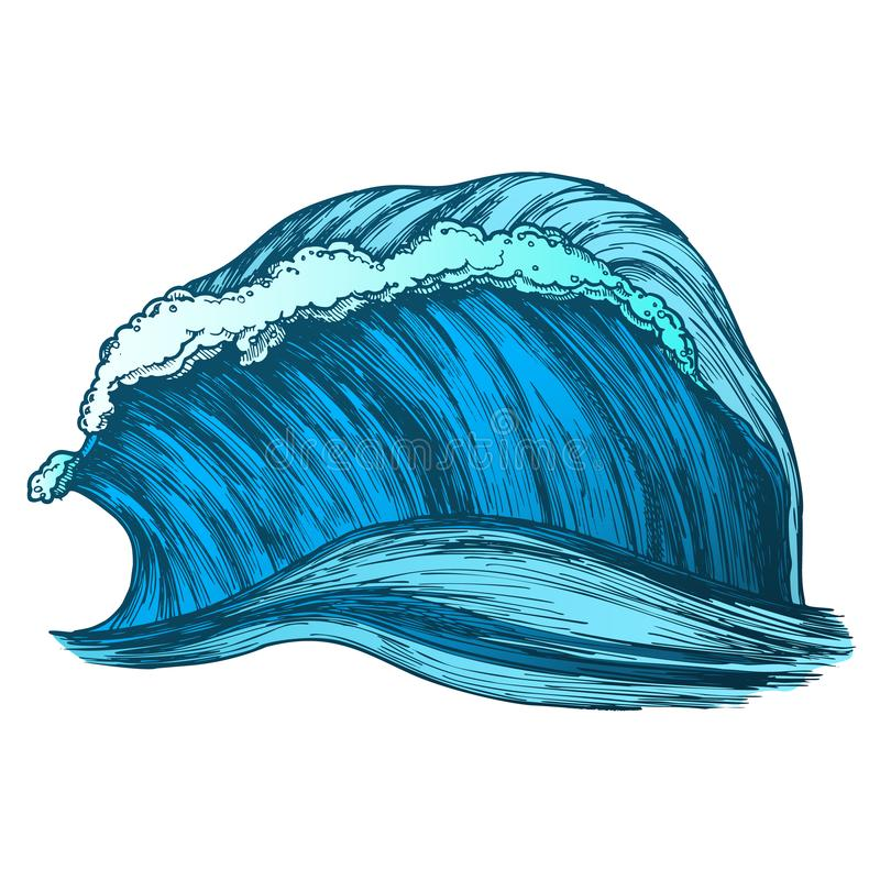 Color Rushing Wind Tropical Ocean Marine Wave Vector stock illustration