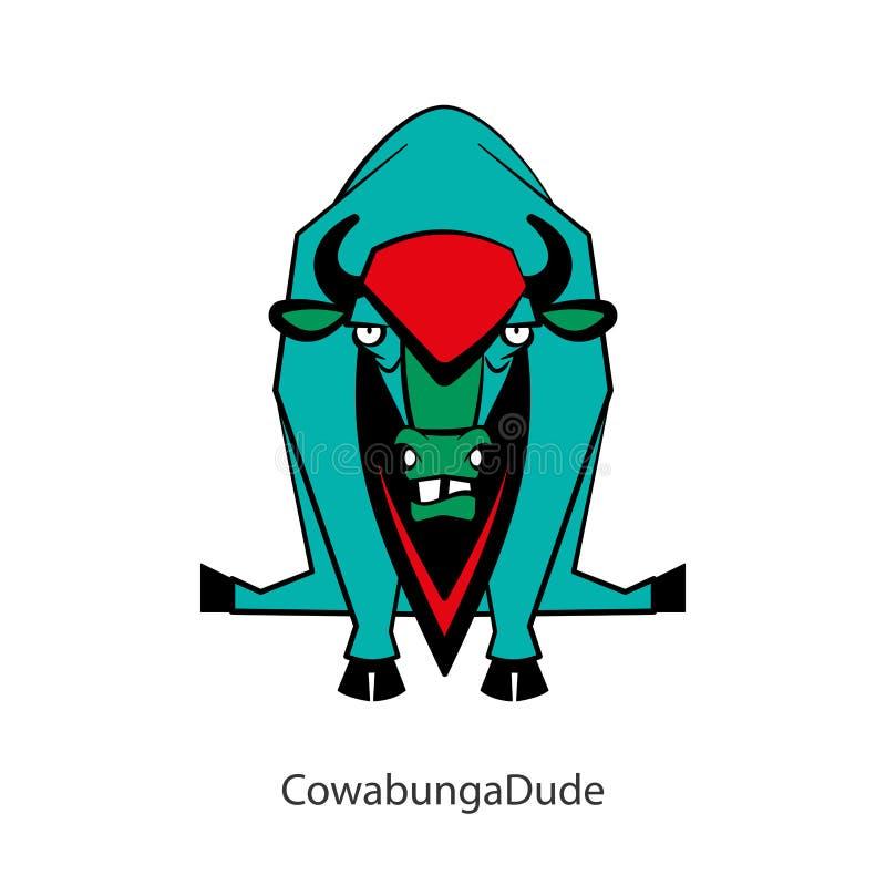 Color salvaje divertido del toro stock de ilustración