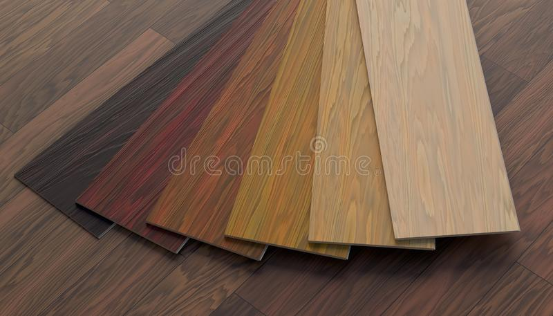 Color samples of wooden laminate floor. 3D rendered illustration. Color samples of wooden laminate floor. 3D rendered illustration vector illustration