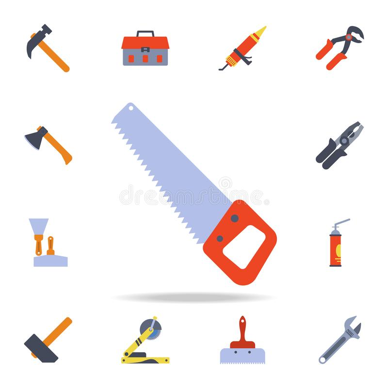 color saw for wood icon. Detailed set of color construction tools. Premium graphic design. One of the collection icons for vector illustration