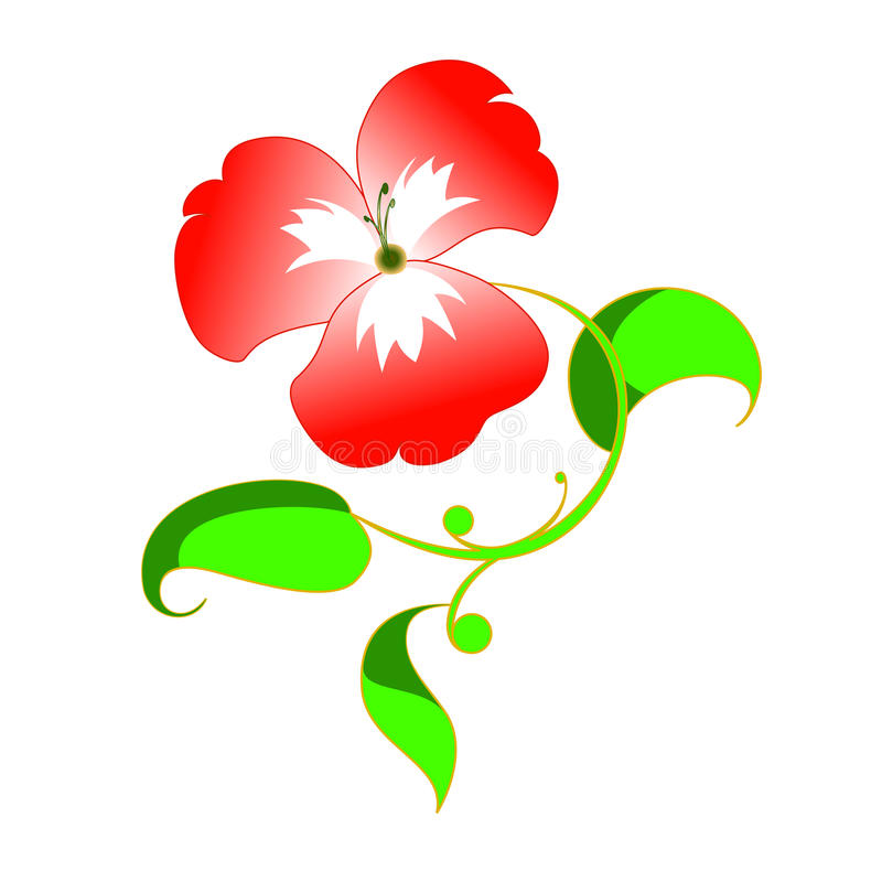 Color scarlatto del fiore e modello verde immagini stock libere da diritti