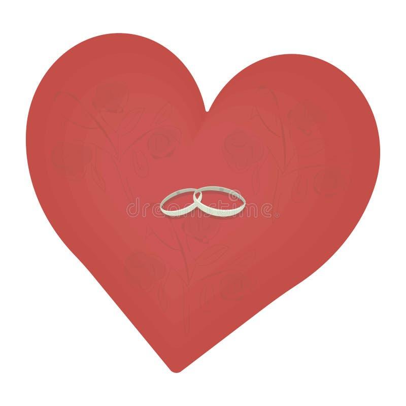 Color scarlatto rosso del cuore di amore con un modello sottile dei rami rosa con gli anelli grigi di nozze isolati su fondo bian royalty illustrazione gratis
