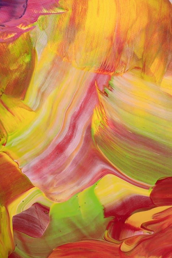 Color scarlatto verde e pittura acrilica astratta gialla illustrazione vettoriale