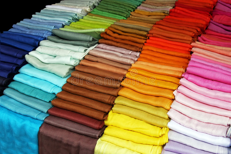 Color scarves stock photos