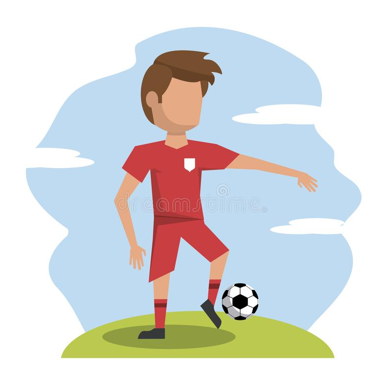 Color scene with faceless athlete football player stock illustration