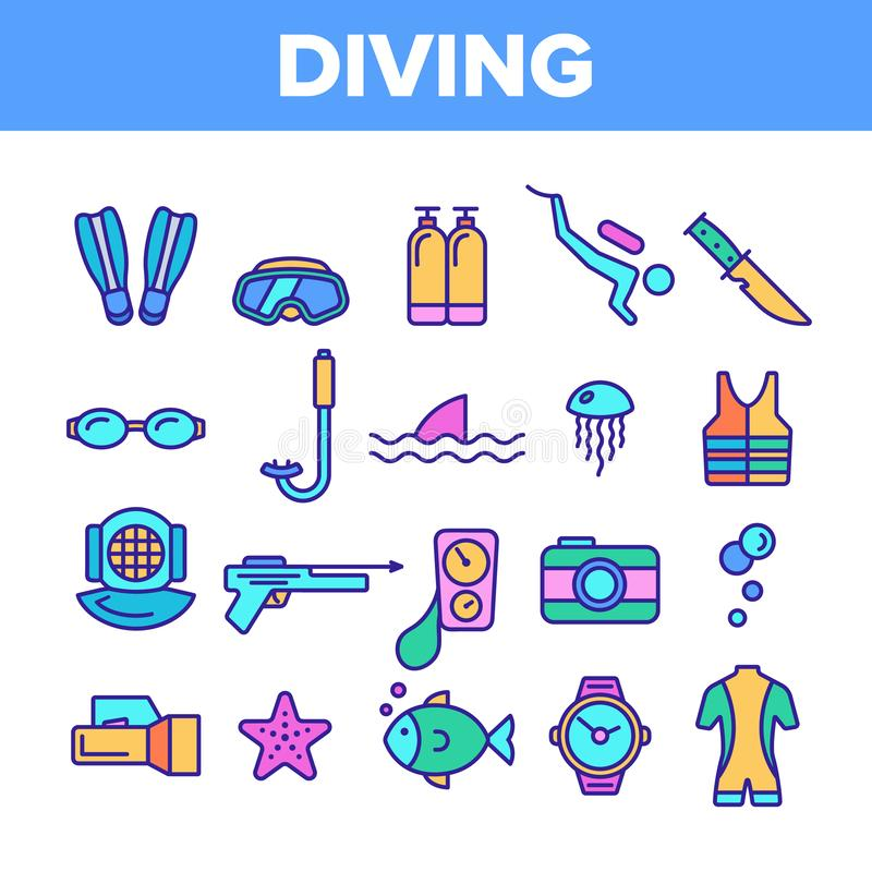 Color Scuba Diving Equipment Vector Linear Icons Set royalty free illustration