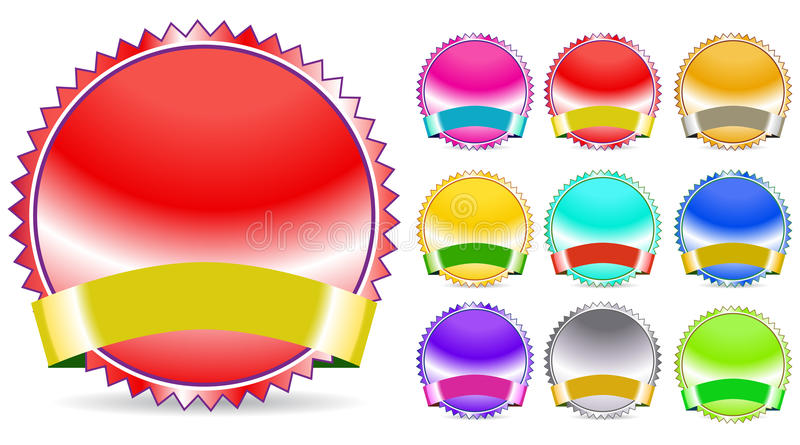 Download Color seal and ribbon stock vector. Image of design, chrome - 17676925