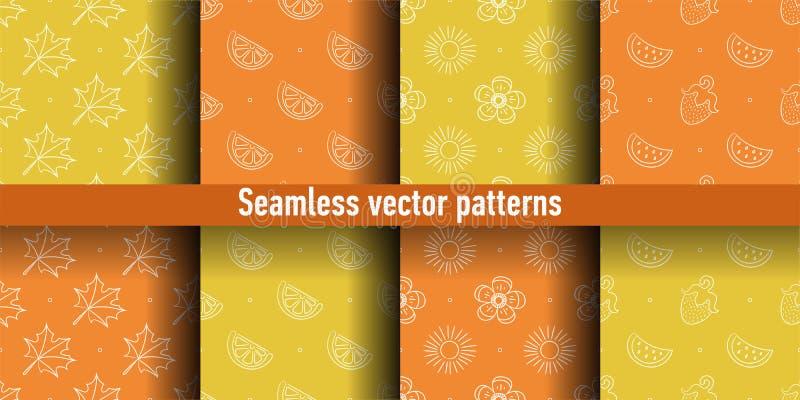 Color seamless pattern. Leaf, orange, mandarin, sun, flower, watermelon, strawberry. Vector background. Summer and spring print stock illustration
