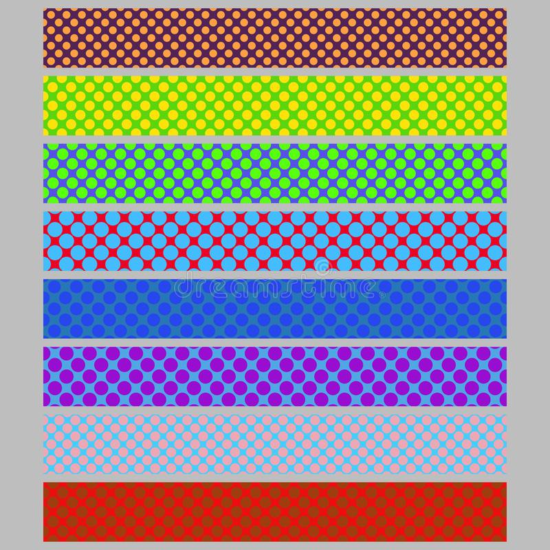 Color seamless polka dot pattern web banner background template set - abstract vector graphic design collection. With colored circles vector illustration