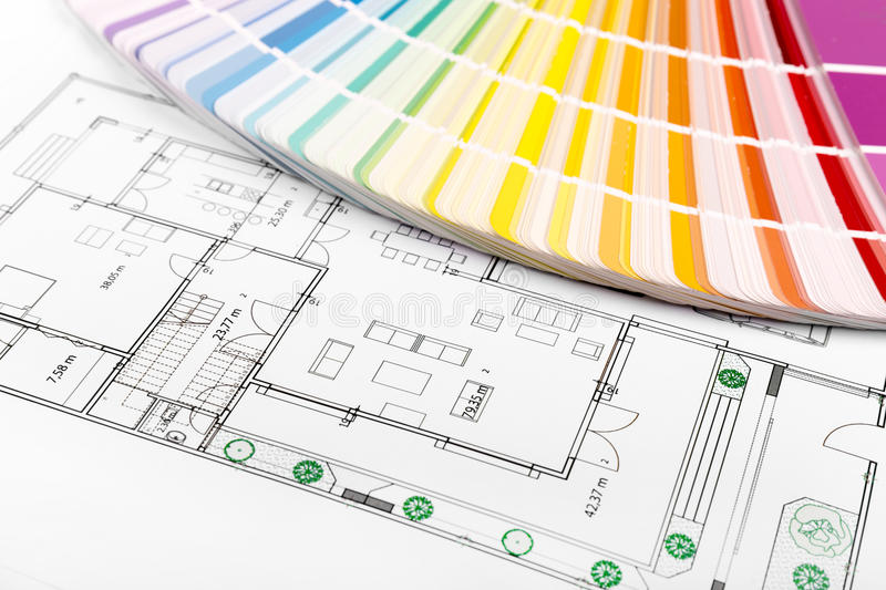 Color selection - paint samples with house floor plan royalty free stock photography