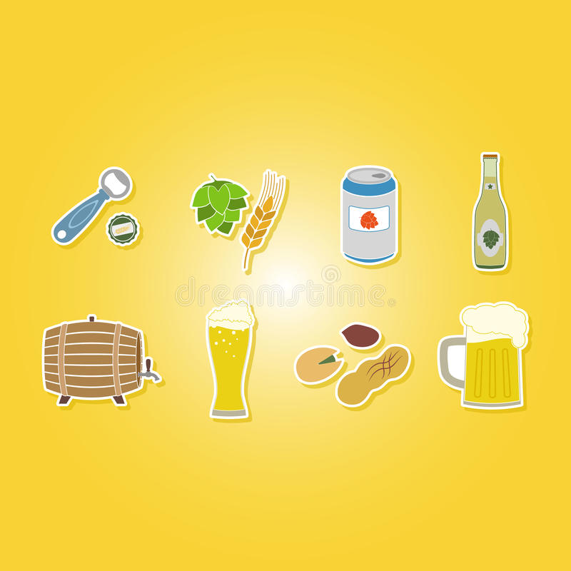 Color set with beer icons royalty free illustration