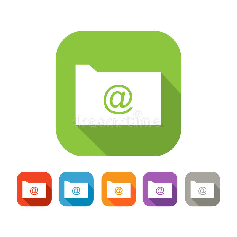 Color set of flat folder with mail sign stock illustration