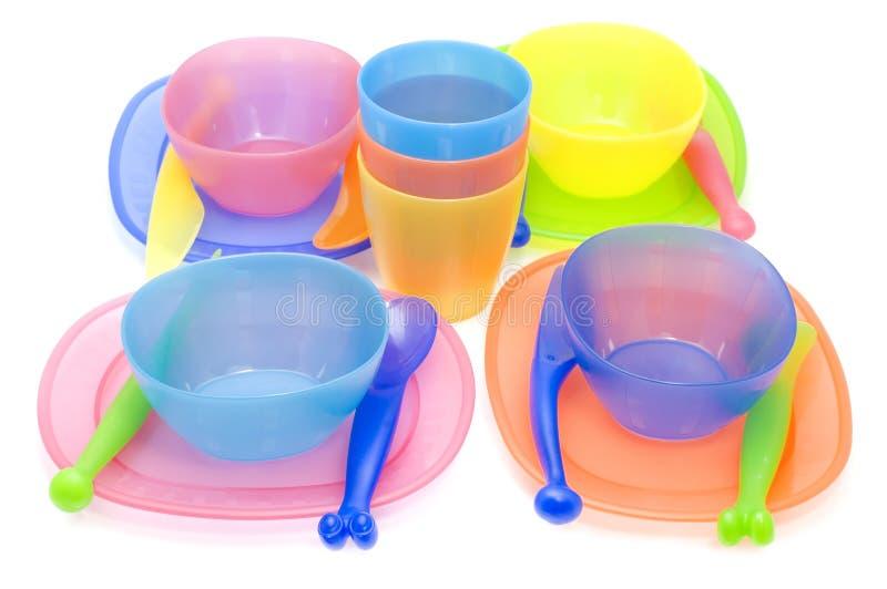 Color Set of plastic ware stock photo