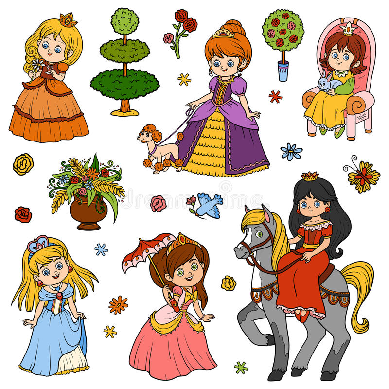 Color set of princess, vector children`s characters vector illustration