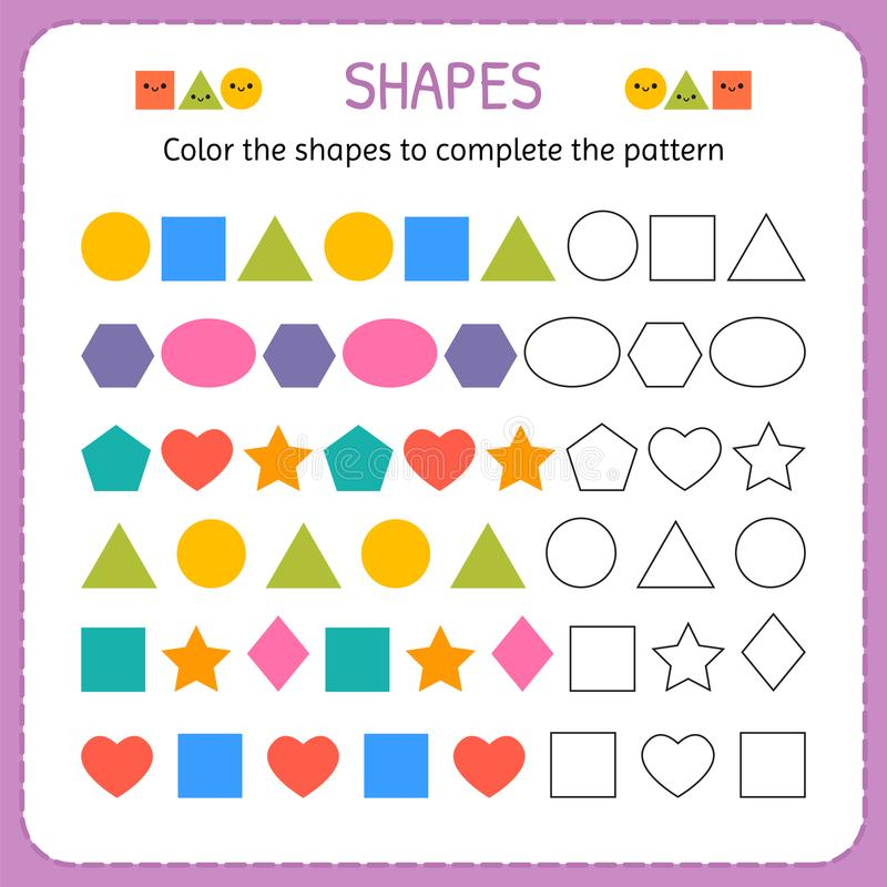 Color the shapes to complete the pattern. Learn shapes and geometric figures. Preschool or kindergarten worksheet stock illustration