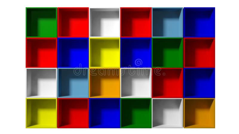 Color shelves. 3d Empty multi colored shelves for exhibit vector illustration