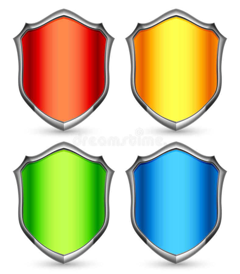 Download Color shields. stock vector. Image of protection, icon - 26788439