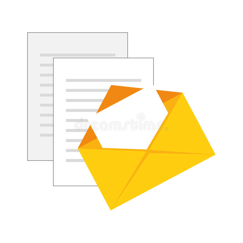 Color silhouette with envelope mail and documents sheets royalty free illustration