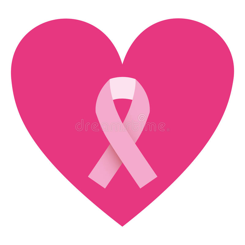 color silhouette of heart with ribbon pink symbol of breast cancer rh dreamstime com breast cancer clip art for newsletter breast cancer clip art graphics