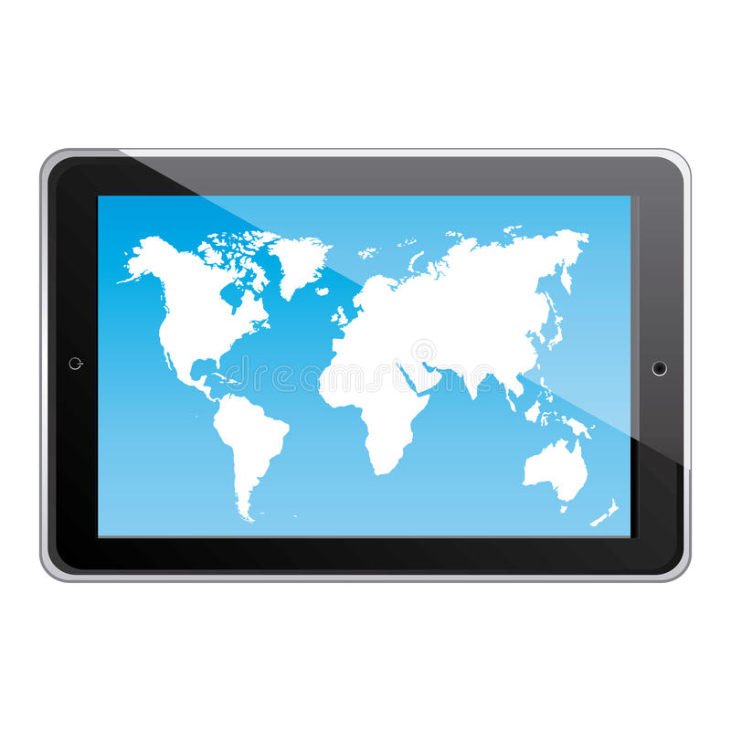 color silhouette tablet in horizontal position and world map wallpaper vector illustration